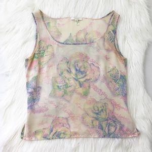 Escada Vintage Silk Printed Tank Top